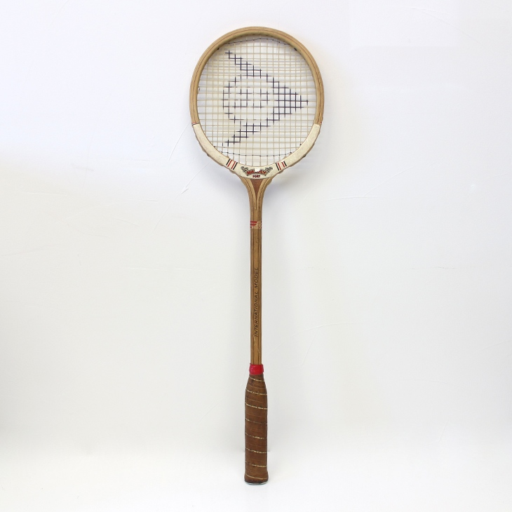 ヴィンテージ木製スカッシュラケット(ダンロップ) Vintage Wooden Dunlop Maxply Fort International Model Squash Racquet